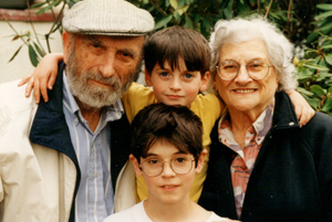 With grandsons Ethan and Nate Cantor in 1997